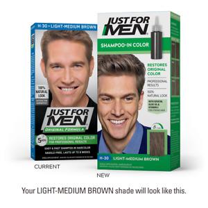 Just For Men Mens Shampoo Hair Colour Color Wash in Dye Light Medium Brown H30
