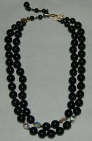 Vintage Plastic Black Beaded Double Strand Necklace Choker Clear Bead Japan
