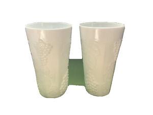 "Vintage Set 2 Tall Milk Glass Drinking Cups Tumbler GRAPE & LEAF PATTERN 6"""