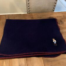 "Vtg Ralph Lauren Polo Teddy Bear Fleece Throw Blanket 50"" X 70� Navy Blue Euc"
