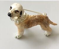 signed  LS animal Dog with bow  colar animal brooch in enamel on metal