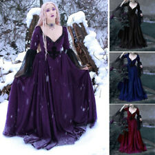 Women Halloween Medieval Vintage Party Gowns  Queen Witch Cosplay Costume Dress