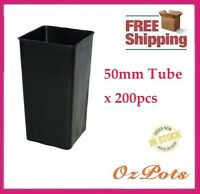 Plastic Tube Pots Square 50mm x 200pcs - Propagation, Seedling, Cuttings (PC)