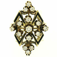 Vintage 14k Yellow Gold .90ctw Round Diamond Black Enamel Marquise Cocktail Ring