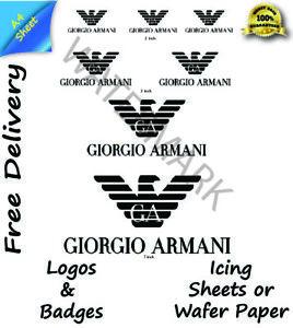 Edible Giorgio Armani logos Logo Wafer Icing Cake Topper