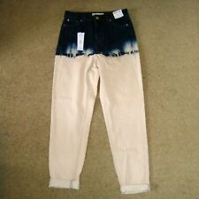 Women's TOPSHOP Mom Dip Dye Jeans W26 L32 High Waist Tapered Bleached Acid Pink