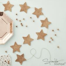 ROSE GOLD GLITTER STAR WOODEN BUNTING - Festive Xmas Garland/Hanging Decoration