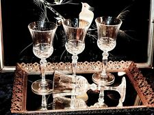 STUNNING FABULOUS HAND CUT CRYSTAL WINE GLASSES SET OF 4