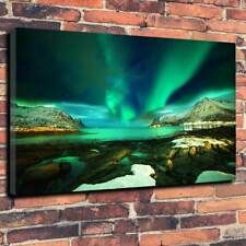 """Northern Lights Aurora Borealis Printed Canvas Picture A1.30""""x20"""" 30mm Deep Art"""