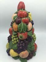 "Vintage 70s Ceramic Fruit Tree/TOPIARY 11.75"" Centerpiece"