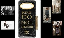 CHANEL DO NOT DISTURB BLACK GOLD SEQUIN TOP RUNWAY DRESS CLUTCH HANDBAG BAG NEW