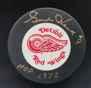 Gordie Howe #9 Signed Autographed Detroit Red Wings Trench Hockey Puck HOF PSA