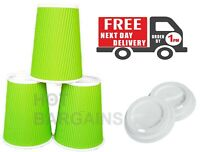 100 X 8oz/12oz Green Disposable Paper Cups Kraft Cups + 100 Lids Completely Free