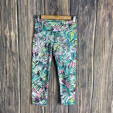 Prana Leggings Small Roaxanne Palm Leaf Floral Tropical Capri Crops Multicolor