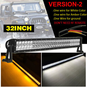"Dual Color Amber White 32""inch Straight LED Work Light Bar Combo Offroad SUV ATV"