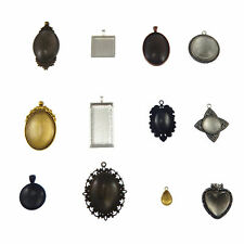 12 sets Jewelry Making Alloy Base Settings with Glass Cabochons Mixed Pendants