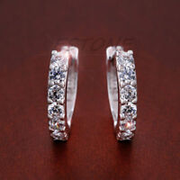 Silver Plated XS Tiny Huggie Hoop Cubic Zirconia Girls Earrings