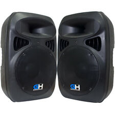 Pair of 2000W Active Powered DJ PA Main Loud Speakers 1/8 Aux 1/4 XLR Mic RCA