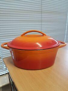 Volcanic Orange Heavy Cast Iron Enamel Lidded Casserole Pan Oven Cooking Pot