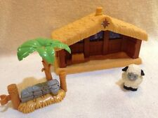 Little People Nativity Stable Palm Tree Fence Parts Christmas Sheep Music Lights