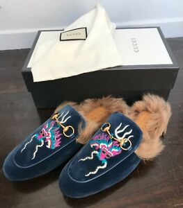 GUCCI Velvet Fur Dragon Embroidered Mens Princetown Slippers size 44