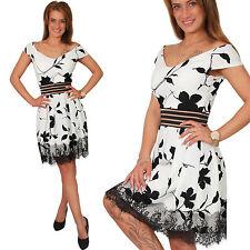 Retro Vestido Vintage Encaje de Cóctel para Fiesta Flores Zarcillo Verano