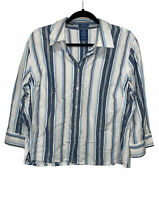 Riders Button Up Collared Blouse Striped Top Long Sleeve Shirt Women's Size XL