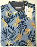 NWT $135 Tommy Bahama Short Sleeve Blue w/Orange Floral Camp Shirt Mens NEW