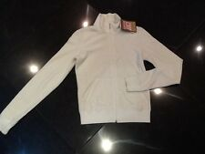 "NWT Juicy Couture New & Genuine Ladies Small Cream Velour Jacket With ""J"" Pull"