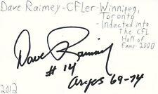 Dave Raimey Winnipeg Toronto CFL HOF Football Autographed Signed Index Card