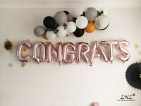 Rose Gold Balloons Letters Silver Graduation Age Numbers Custom Hello Congrats