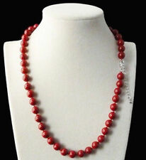 "AAA 8mm Coral Red Color South Sea Shell Pearl Round Beads Necklace 18"" PN1119"