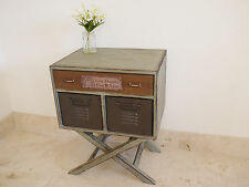 Small 3 Drawer Cabinet On Stand Industrial Art Deco Storage Televison Table New