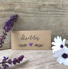 Personalised Wedding Party Name Place Card Tag DIY style Kraft Heart x2