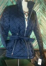 $150NWT Womens Nautica Jacket Coat Sz S Navy Diamond Quilted Belted Zipper