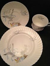 "Queens Rosina English Bone China ""Seagull"" Dessert Set, Plate, Saucer & Cup!"