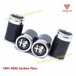 Alfa Romeo All Silver Logo Carbon Fiber Tire Valve Caps- Perfect Gift! NEW ITEM!