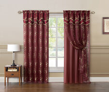 Burgundy and Gold Double Layer Embroidered Window Curtain: Floral Design