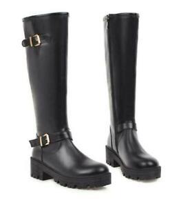 Women High Block Heel Platform Faux Leather Mid Calf Boots Side Zipper Round Toe
