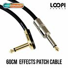 "60cm 1/4"" Pancake to Straight Guitar Effect Patch Cable - Van Damme Cable"