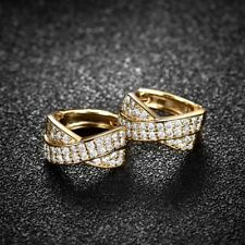 Unique Women Lady Engagement White Sapphire Crystal Gold Filled Cross Earrings