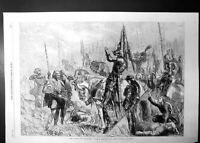 Original Old Antique Print Battle Agincourt Drawing John Gilbert 1863 Victorian