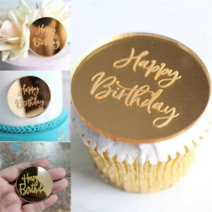 10/20PCS Happy Birthday Acrylic Cupcake Disc Toppers Gold Party Cake Celebration