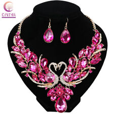 Swan Gold Plated Crystal Jewelry Set For Brides Necklace Earring Wedding Prom