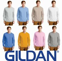 Gildan Ultra Cotton Long Sleeve T-Shirt Mens Soft Color Plain Blank S-3XL 2400
