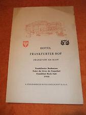 a Speisekarte Steigenberger Hotel Frankfurter Hof Frankfurt Main vom 21. 9. 1962