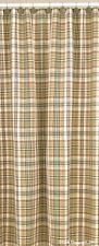 SHOWER CURTAIN THYME BURGUNDY GREEN TAN IVORY PLAID  COTTON COUNTRY FARMHOUSE