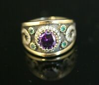 925 Sterling Silver Handmade Authentic Turkish Amethyst Ladies Ring Size 9