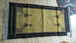 "Antique NOS CORAL MAYFLOWER Brand RUG, 24""X48"", Gold/Black, Original Tag,Mission"