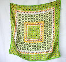 "100% Silk Twill Scarf Square 25"" Green Yellow Purple White Vtg Flowers Hearts"